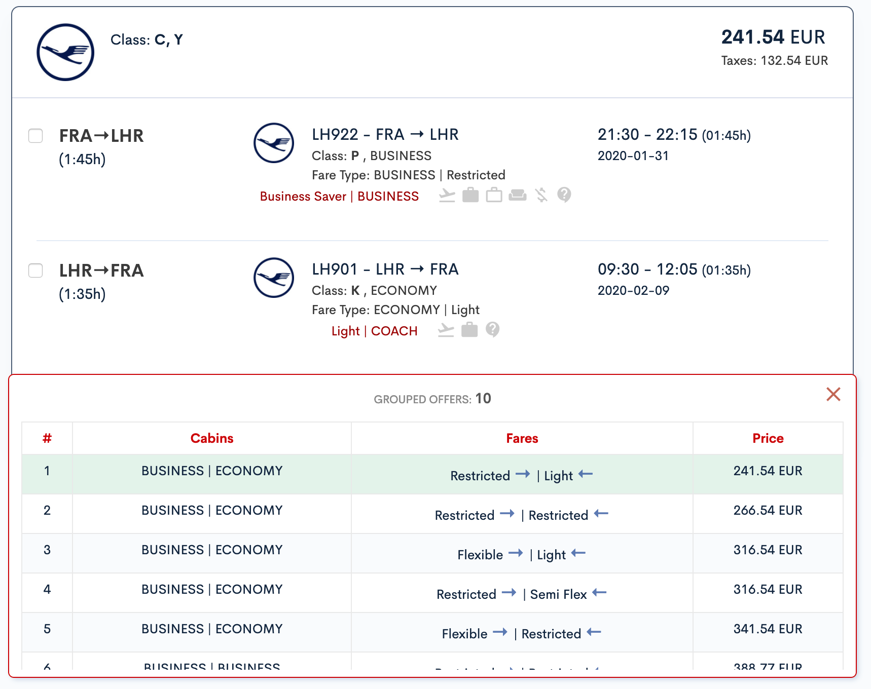 Bookingpad Group Itineraries feature (Upgrade Options)